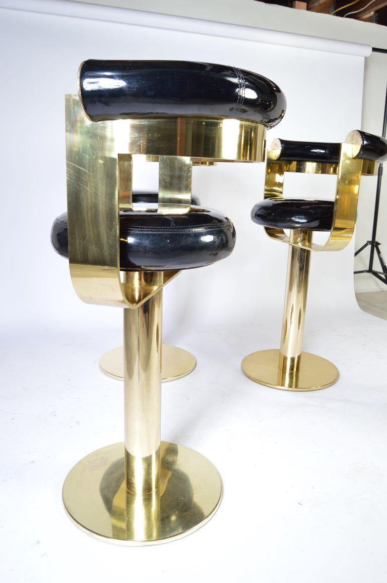 Mid-Century Modern Custom Brass Counter Bar Stools in the Manner of Design For Leisure, circa 1970 For Sale