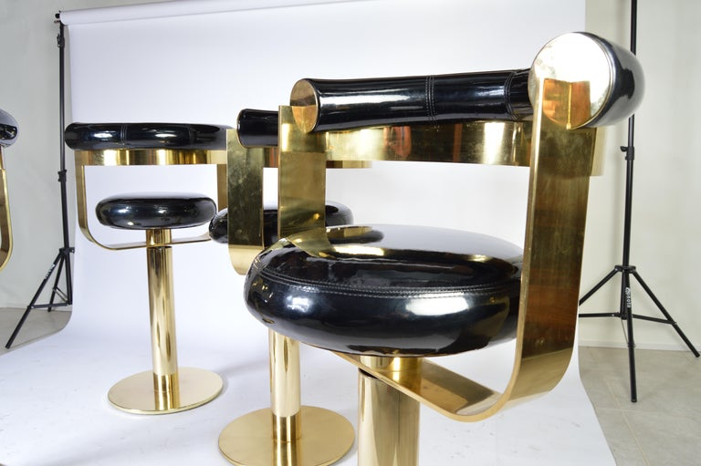 American Custom Brass Counter Bar Stools in the Manner of Design For Leisure, circa 1970 For Sale