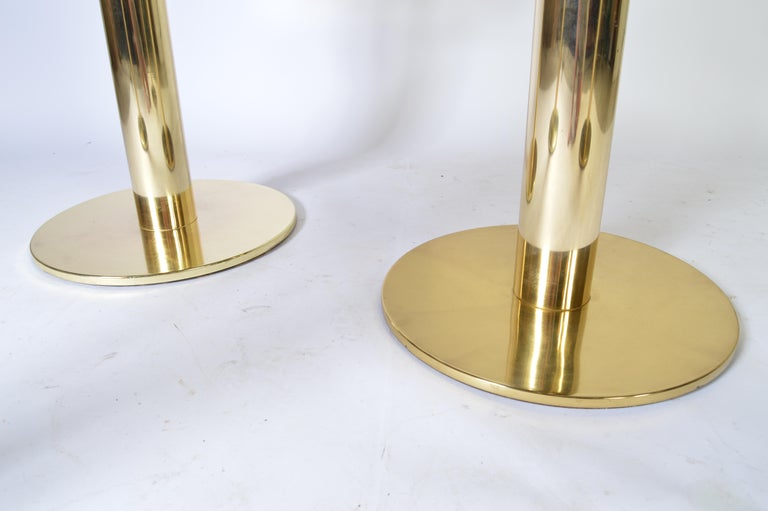 Custom Brass Counter Bar Stools in the Manner of Design For Leisure, circa 1970 For Sale 1