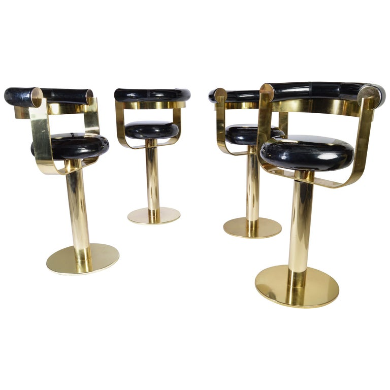 Custom Brass Counter Bar Stools in the Manner of Design For Leisure, circa 1970 For Sale