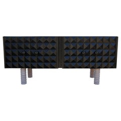 Custom Brutalist Diamond Front Postmodern Black and Natural Sideboard / Cabinet