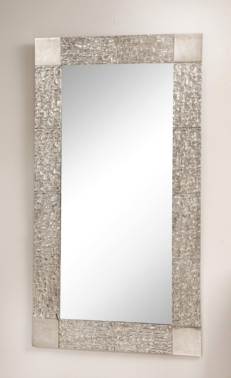 Custom Brutalist mirror in the style of Luciano Frigerio in brushed nickel. Customization is available in different sizes and finishes.