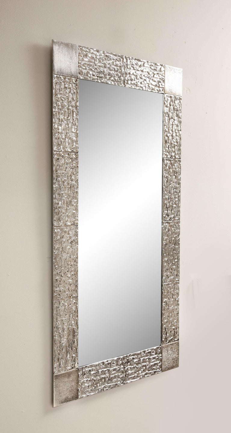 North American Custom Brutalist Mirror in the Style of Luciano Frigerio in Brushed Nickel For Sale