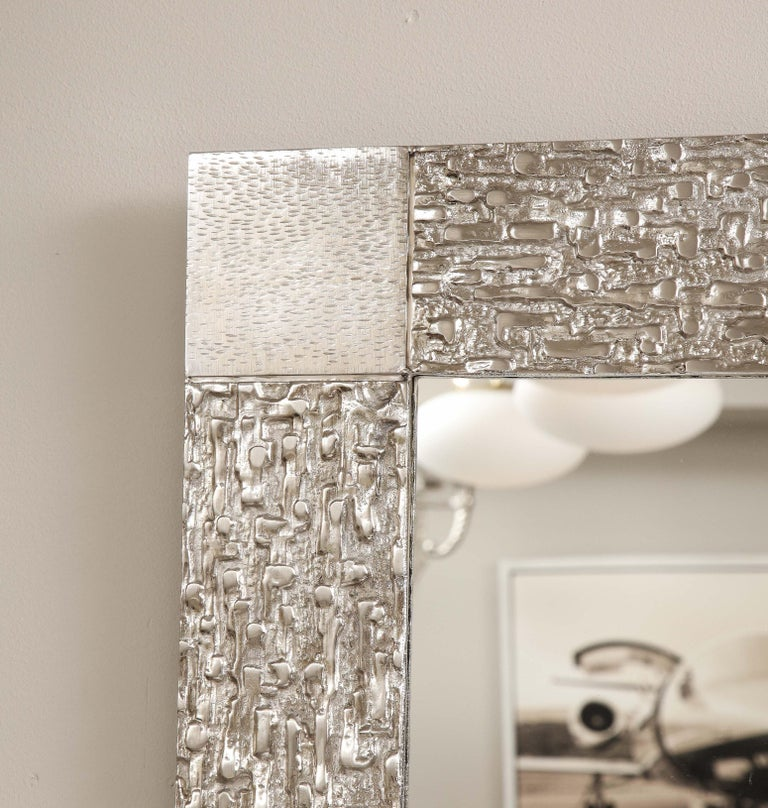 Custom Brutalist Mirror in the Style of Luciano Frigerio in Brushed Nickel In New Condition For Sale In New York, NY