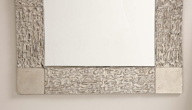 Custom Brutalist Mirror in the Style of Luciano Frigerio in Brushed Nickel For Sale 1