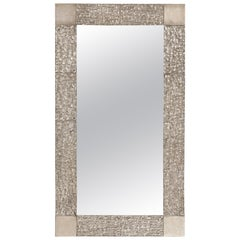 Custom Brutalist Mirror in the Style of Luciano Frigerio in Brushed Nickel