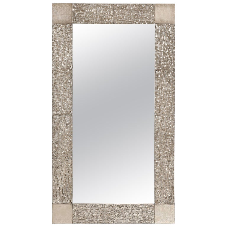 Custom Brutalist Mirror in the Style of Luciano Frigerio in Brushed Nickel For Sale