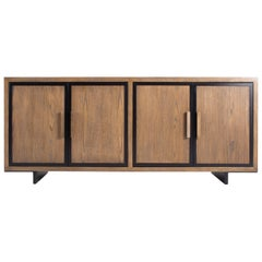 Custom Cabinet Oak in Bali Finish Wood with Steel Trim Four Door, Two Shelves