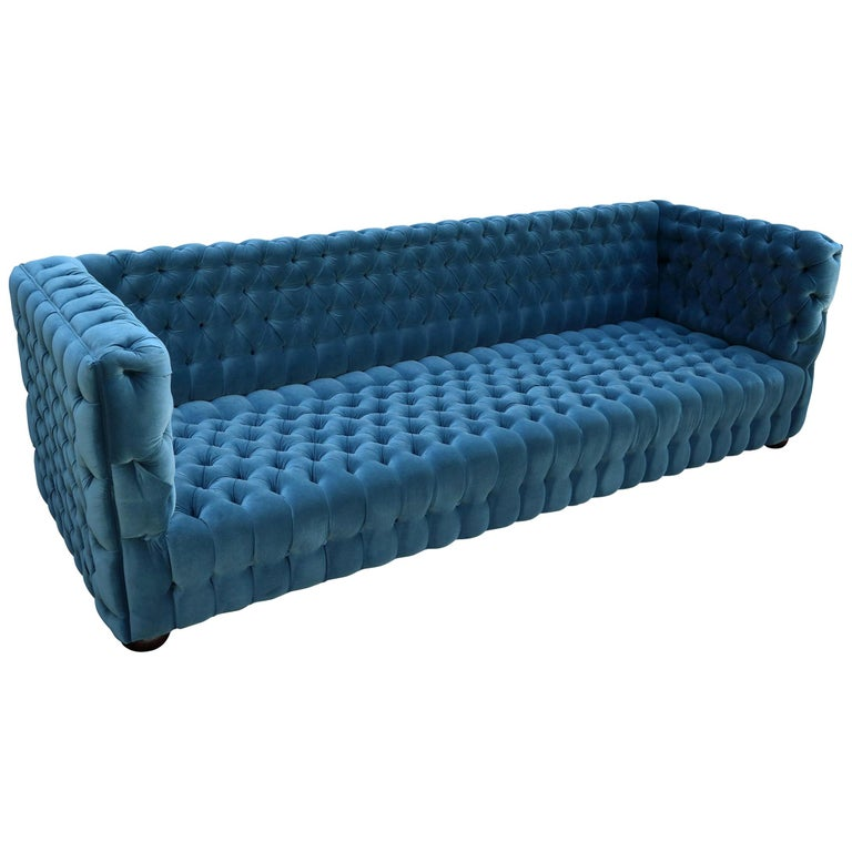 "Custom Capitone ""Carmen"" Tufted Blue Green Velvet Sofa by Adesso Imports For Sale"