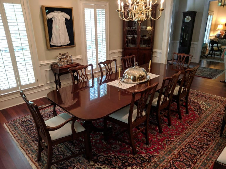 Custom Cathedral Mahogany Georgian Style Dining Table by Leighton Hall For Sale 6