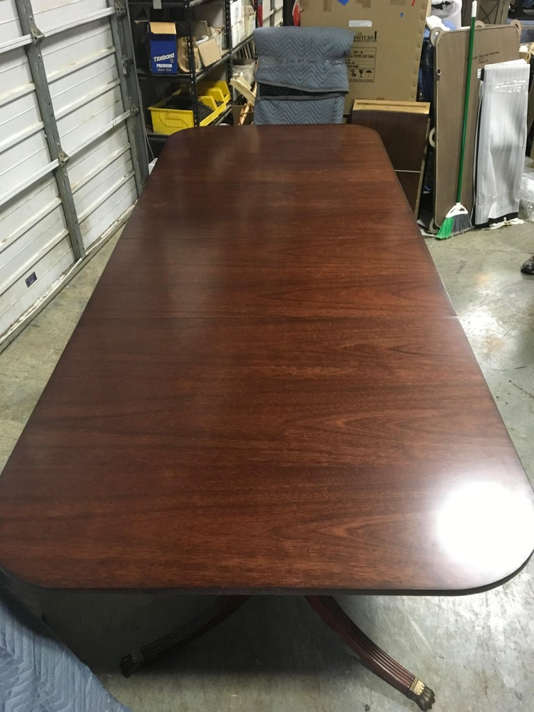 Custom Cathedral Mahogany Georgian Style Dining Table by Leighton Hall For Sale 3