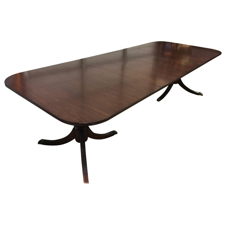 Custom Cathedral Mahogany Georgian Style Dining Table by Leighton Hall For Sale