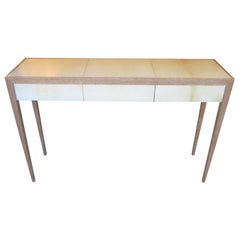 Custom Cerused Oak and Parchment Console Table