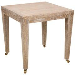 Custom Cerused Oak Square Side Table on Castors