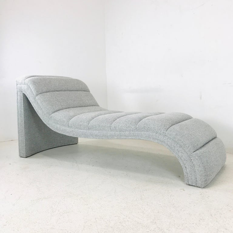 Chaise lounge, custom. Available in the fabric pictured here or can be custom made with COM. For custom orders please allow a 6-8 week lead time.  Dimensions: 66