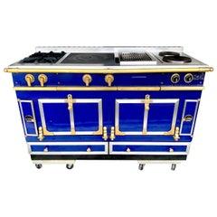 Custom Cobalt Blue & Brass La Cornue Château Series, Dual Fuel Range, 2007