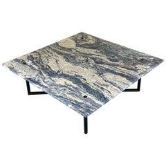 Custom Coffee Table Black Stainless Steel Base + Travertine Top