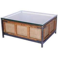 Custom Coffee Table Made from Vintage German Cigar Bin, Iron and Glass