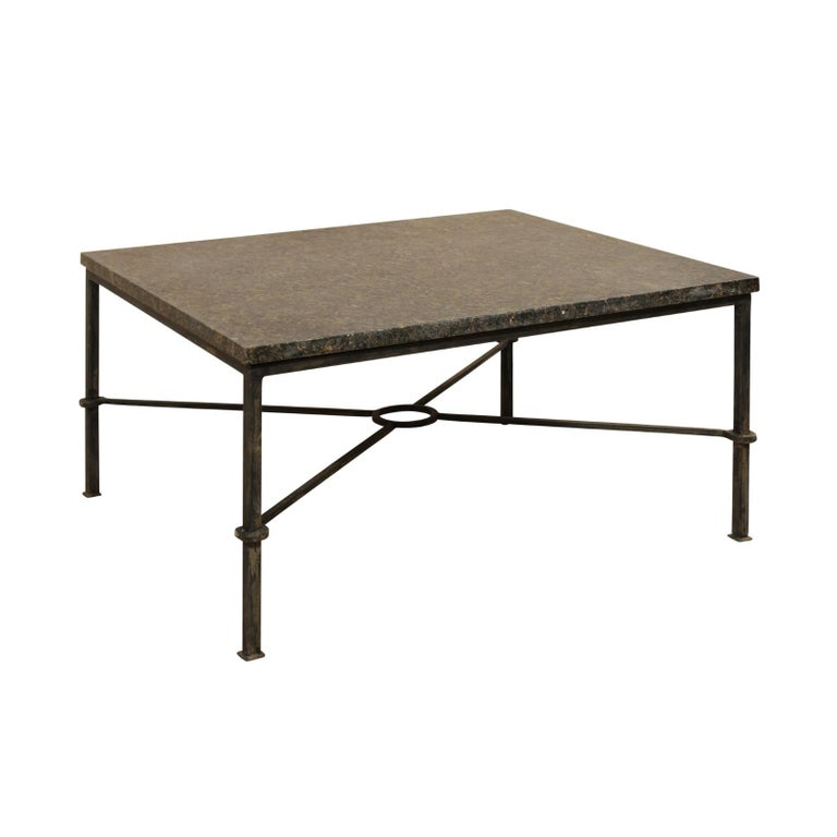 Custom Coffee Table With Honed Granite Top And Black Iron