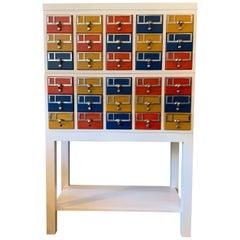 Custom Color Block Modular Library Card Catalog Cabinet