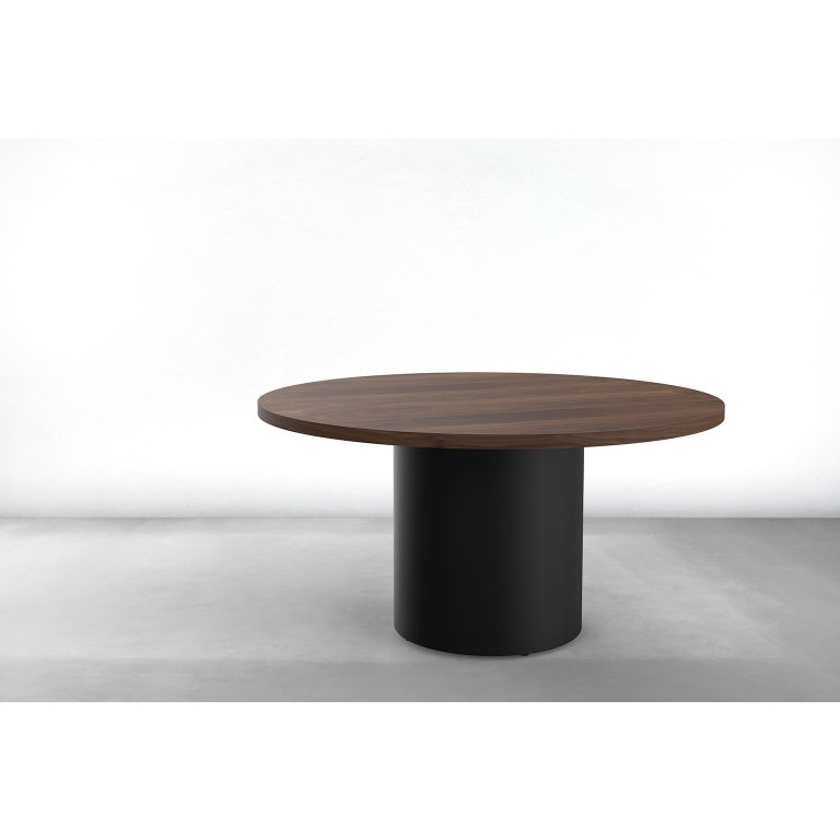 Modern Custom Column Meeting Table Made from Solid Wood with Metal Base For Sale