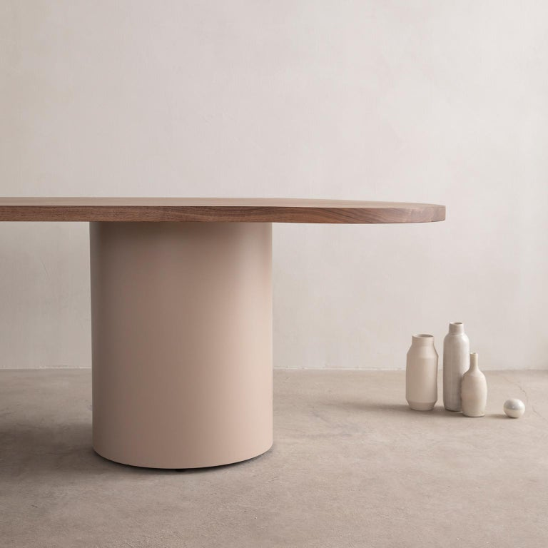 Oiled Custom Column Meeting Table Made from Solid Wood with Metal Base For Sale