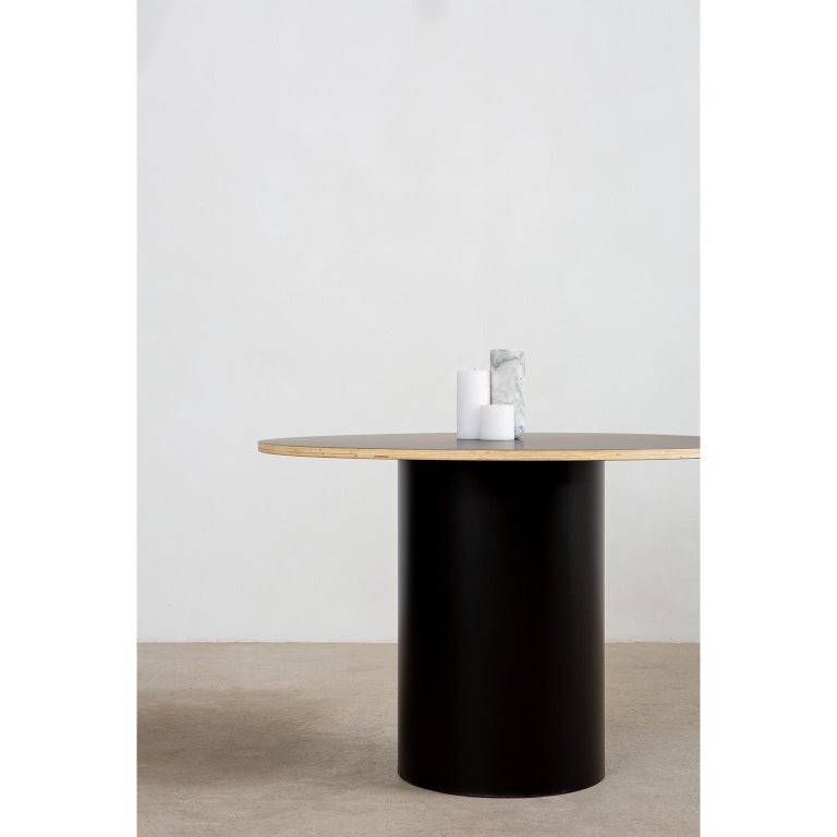 Custom Column Meeting Table Made from Solid Wood with Metal Base In New Condition For Sale In Vancouver, B.C.