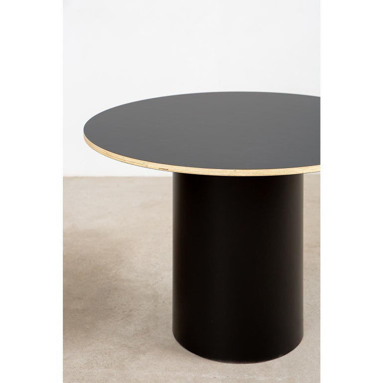 Contemporary Custom Column Meeting Table Made from Solid Wood with Metal Base For Sale
