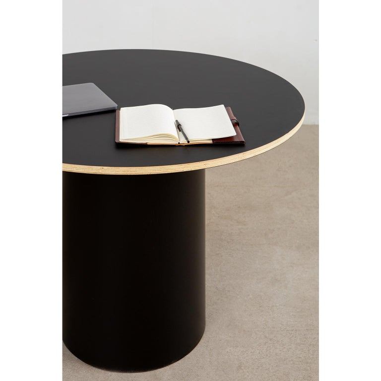Hardwood Custom Column Meeting Table Made from Solid Wood with Metal Base For Sale