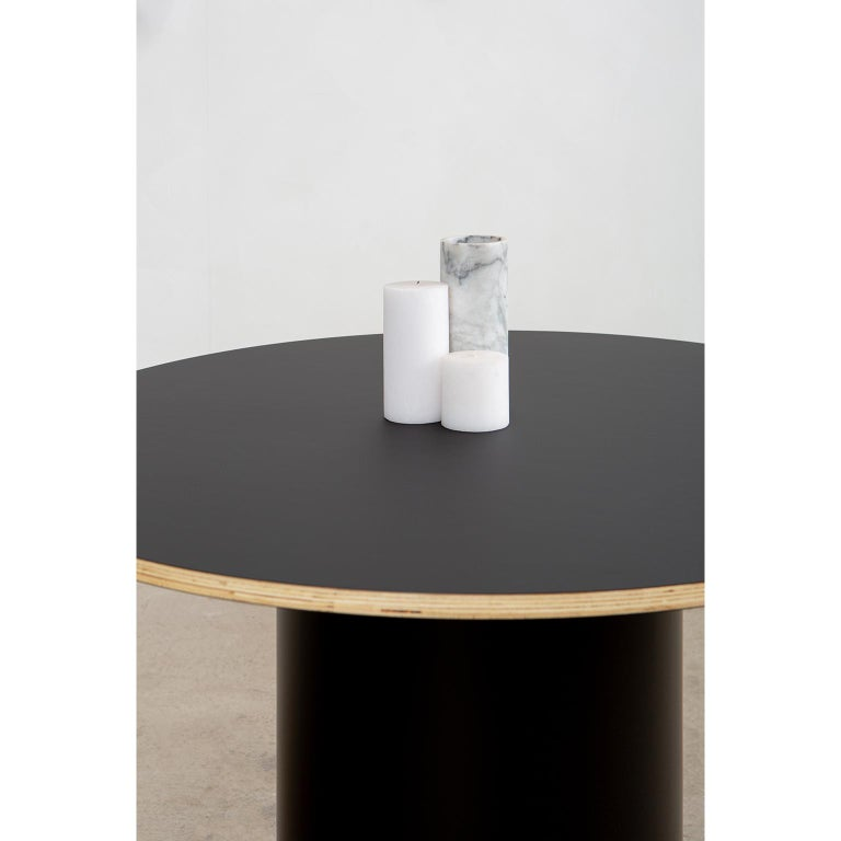 Custom Column Meeting Table Made from Solid Wood with Metal Base For Sale 1