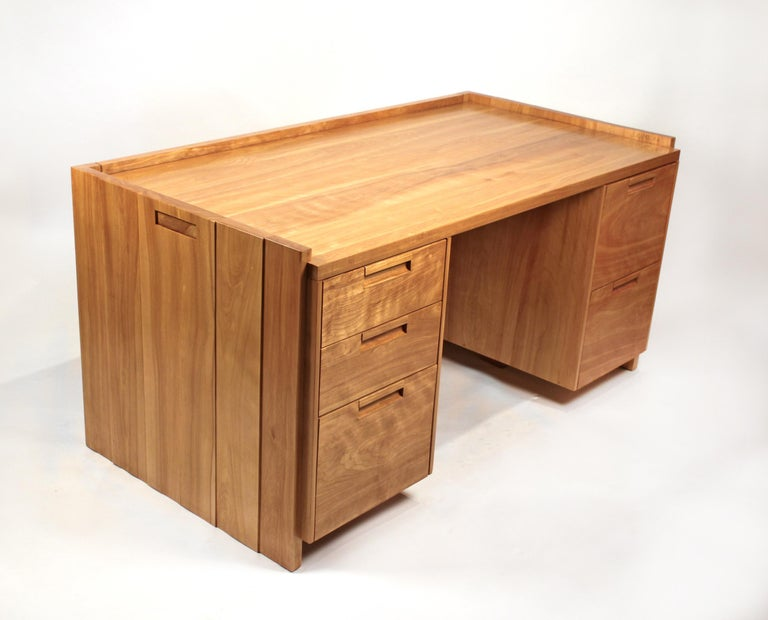 Mid-Century Modern Custom Commissioned Solid Wood Desk by California Studio Craftsman John Kapel For Sale