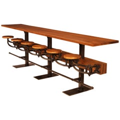 Custom Counter Bar / Pub Table with Attached Swing Out Seats, Built to Spec
