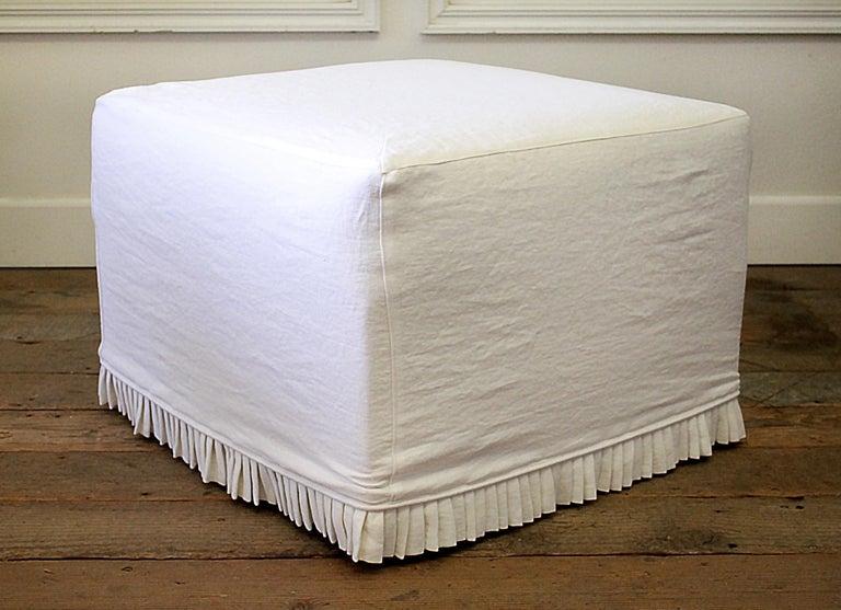 Astounding Custom Cube Ottoman Slip Covered In White Belgian Linen With Hand Pleated Ruffle Creativecarmelina Interior Chair Design Creativecarmelinacom