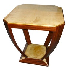Custom Cubist Modernist French Style Table with Parchment Top