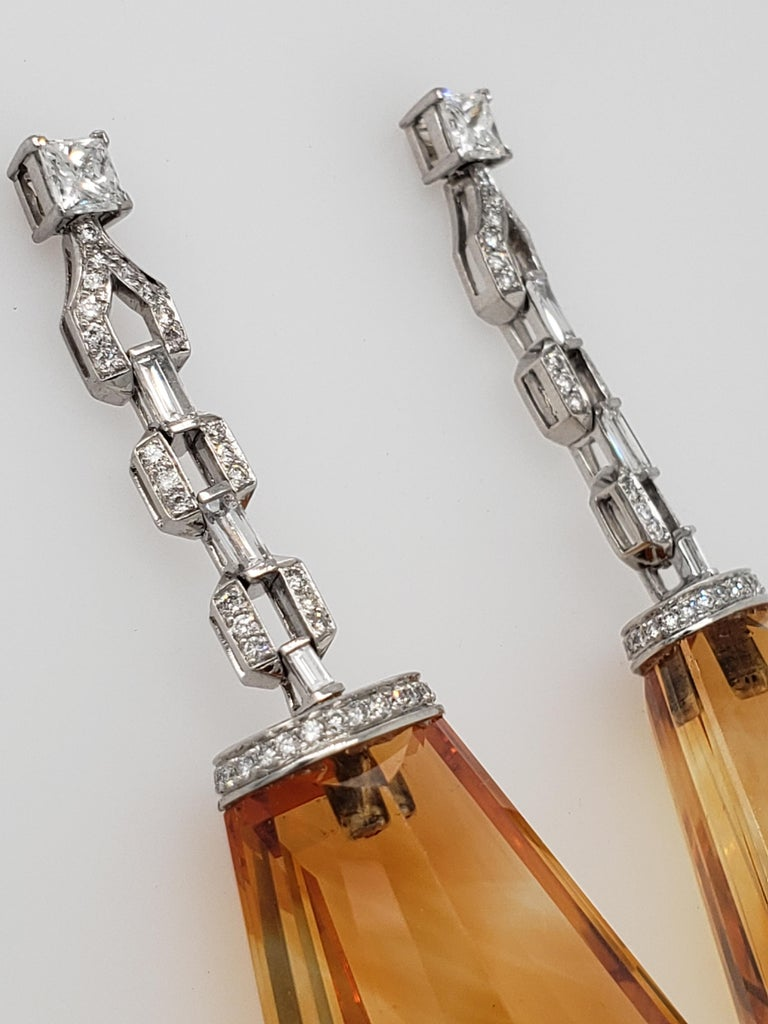Custom Cut Citrine and Diamond, White Gold Drop Earrings In Excellent Condition For Sale In New York, NY
