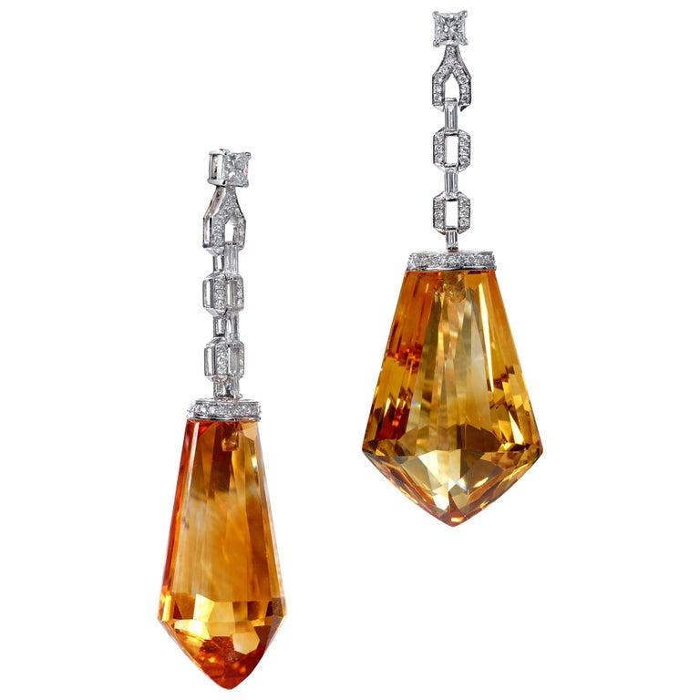 Custom Cut Citrine and Diamond, White Gold Drop Earrings For Sale