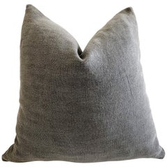 Custom Dark Gray Stone Washed Linen Pillow with Down Feather Insert