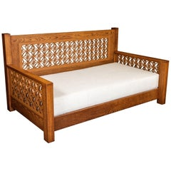 Custom Daybed Made from White Oak with Mid Century Teak Kumiko Panels