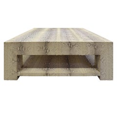 Custom Design Coffee Table Covered in Beige Python, circa 2012