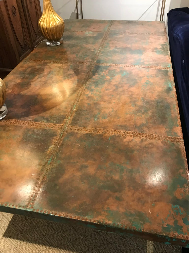 Verdigris Copper Top Paneled Dining Table At 1stdibs