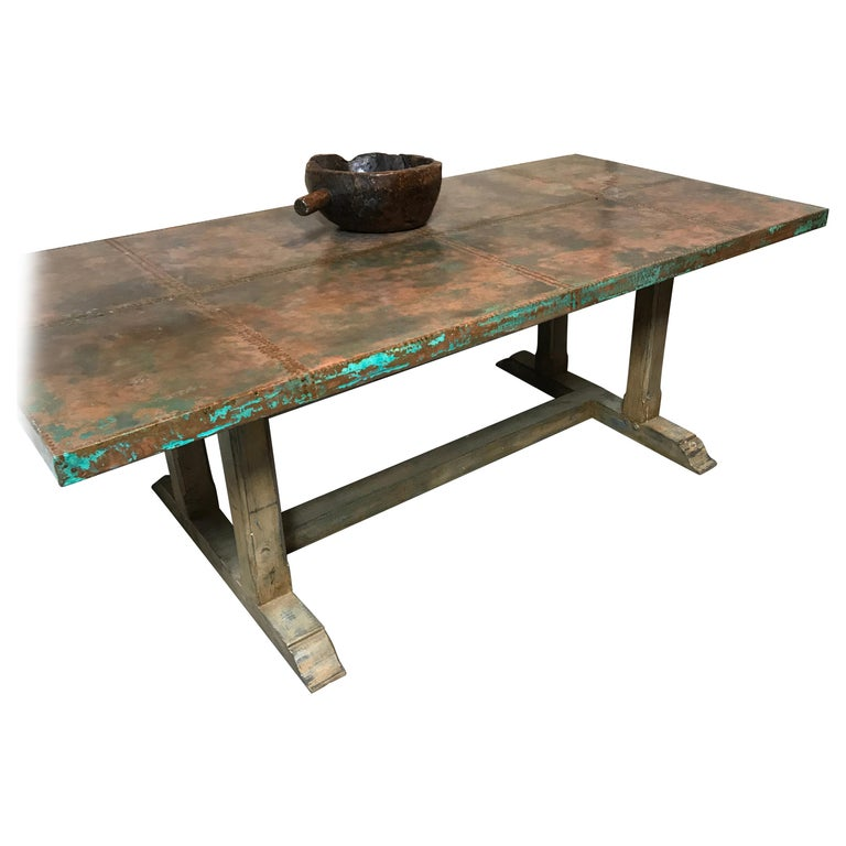 Copper Dining Room Tables: Verdigris Copper Top Paneled Dining Table For Sale At 1stdibs