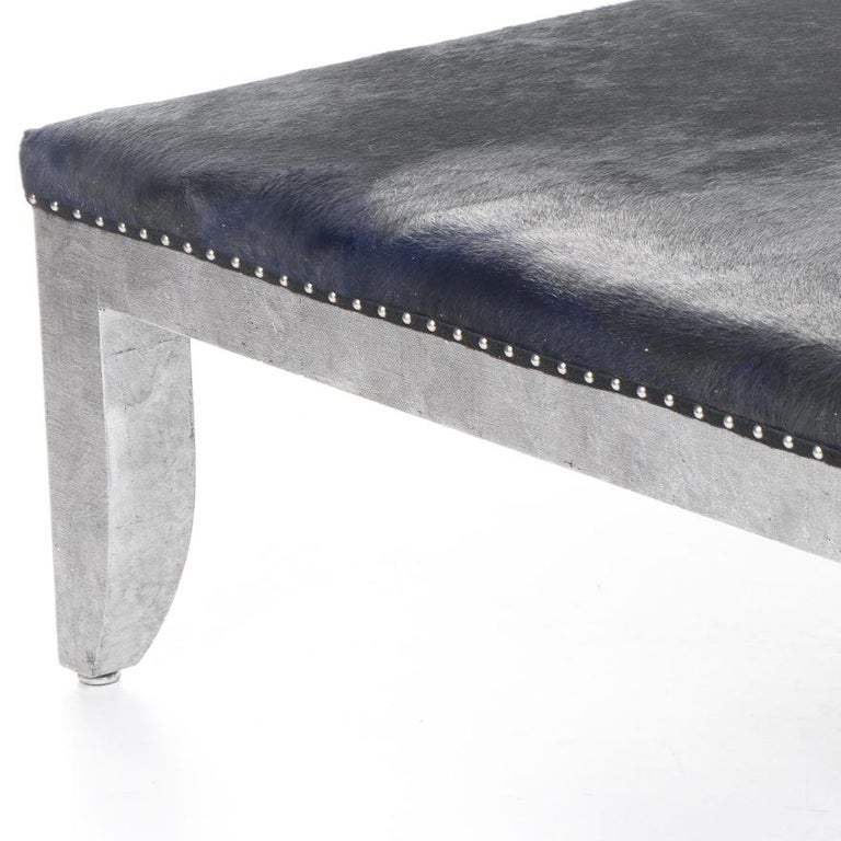 American Custom Designed Distressed Silver Lacquer Raffia And Hair on Hide Coffee Table  For Sale