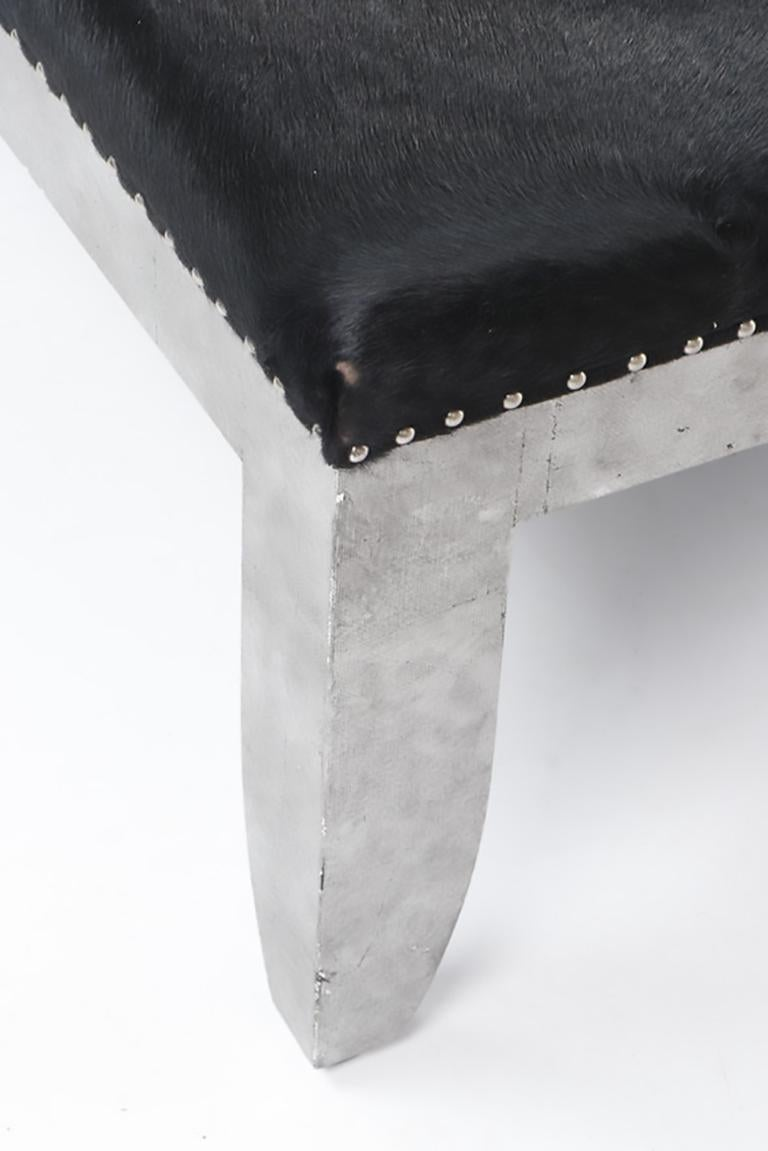 Cowhide Custom Designed Distressed Silver Lacquer Raffia And Hair on Hide Coffee Table  For Sale