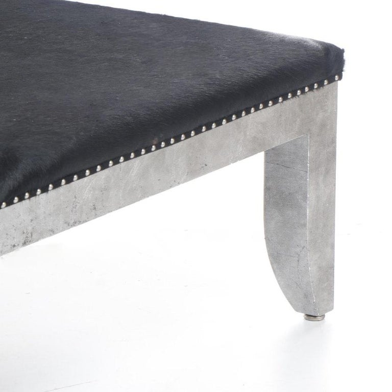 Custom Designed Distressed Silver Lacquer Raffia And Hair on Hide Coffee Table  For Sale 1