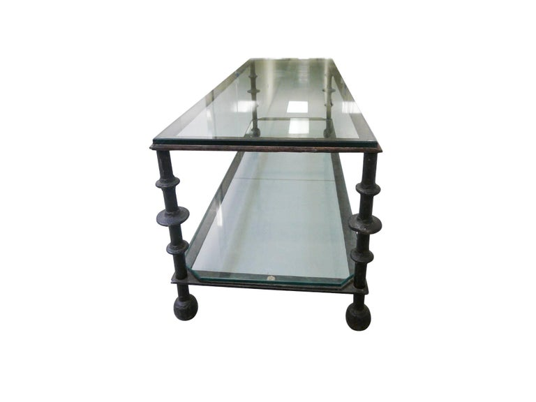 Custom-Designed Iron and Glass Coffee Table in the Manner of Ilana Goor In Good Condition For Sale In New York, NY