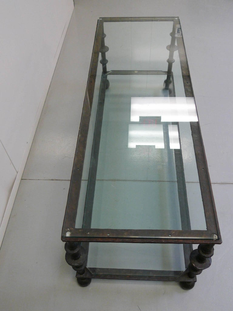 20th Century Custom-Designed Iron and Glass Coffee Table in the Manner of Ilana Goor For Sale
