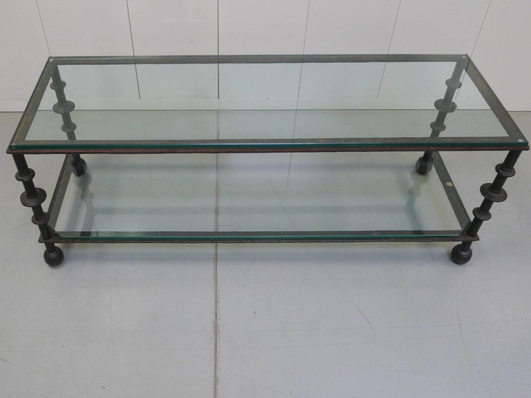 Custom-Designed Iron and Glass Coffee Table in the Manner of Ilana Goor For Sale 2