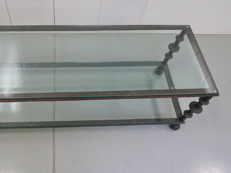 Custom-Designed Iron and Glass Coffee Table in the Manner of Ilana Goor For Sale 3