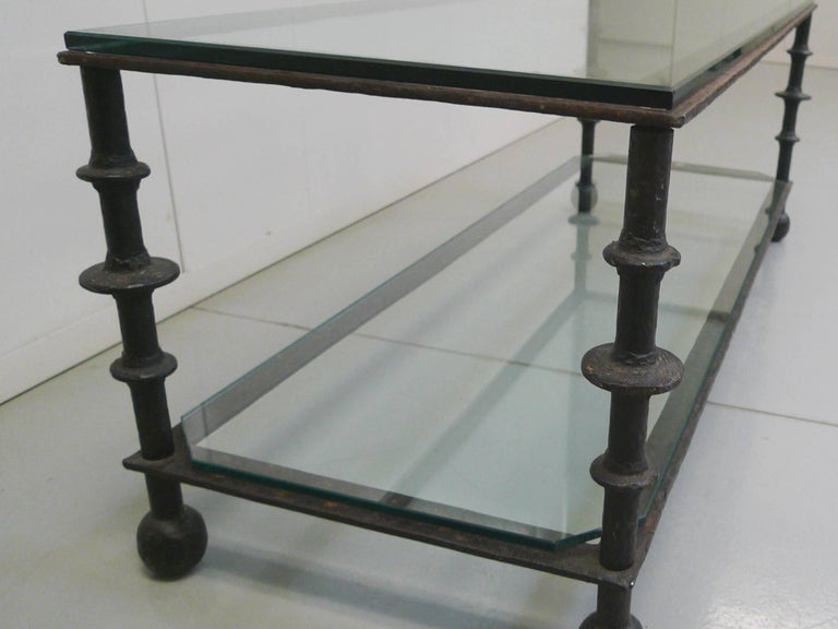 Custom-Designed Iron and Glass Coffee Table in the Manner of Ilana Goor For Sale 4