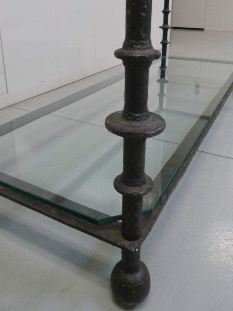 Custom-Designed Iron and Glass Coffee Table in the Manner of Ilana Goor For Sale 5